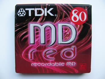 000-512 / TDK MD RED C-80 REA Recordable Mini Disc MD NEU SEALED