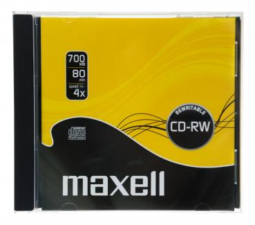 001-168 / MAXELL CD-RW Single Disc 80min 700MB Rewritable 1x-4x JEWEL CASE (624860) OVP NEU