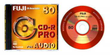 001-636 / 1x100 PACK FUJI CD-R PRO 80 Minuten AUDIO Rohlinge Write Once Jewel Case OVP NEU