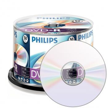 001-917 / 1x50 PHILIPS DVD-R Rohlinge 4.7GB 1x16x Cakebox (DM4S6B50F/00)NEU