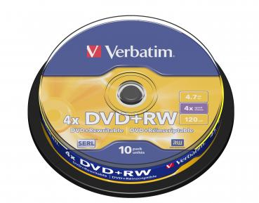 002-039 / 1x10 VERBATIM DVD+RW Rewritable 4.7GB 1x4x Spindel (43488) NEU