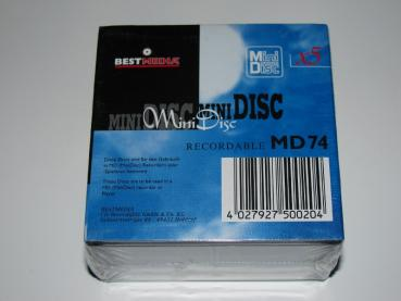002-043 / 1x5 BOX BEST MEDIA 74min Recordable Mini Discs NEU