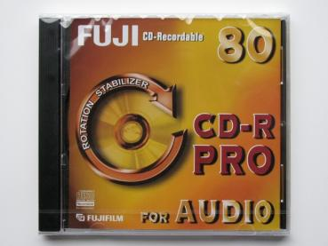 002-131 / FUJI CD-R PRO 80min AUDIO Single Disc (Rotation Stabilizer) Write Once JEWEL CASE OVP NEU