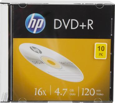 002-300 / 1x10 HP DVD+R Rohlinge Write Once 4.7GB 120min 1x16x SLIM CASE (DRE00085-3) OVP NEU