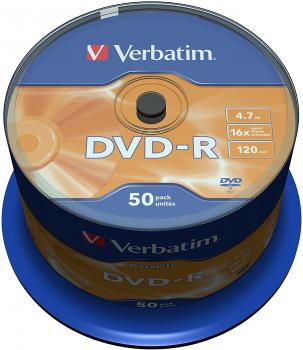 "003-001 / 1x50 Verbatim DVD-R Rohlinge WriteOnce ""DATA LIFE"" 4.7GB 120min 1x16x Cakebox (43814) OVP NEU"