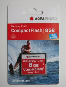 003-051 / AGFA Compact Flash Card 8GB High Speed 233x /300x MLC (10433) NEU