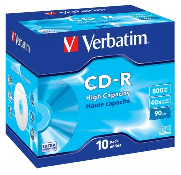 003-130 / 1x10 Verbatim CD-R 90min 800MB 40x HighCapacity JEWEL CASE (43428) OVP NEU