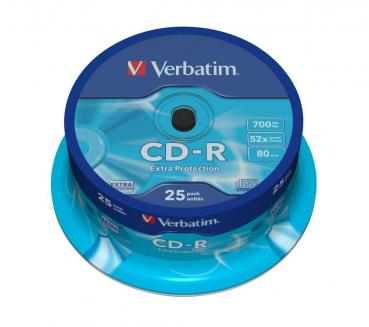 003-133 / 1x25 Verbatim CD-R WriteOnce 80min 700MB 52x Extra Protection (43432) OVP NEU