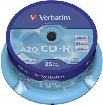 003-134 / 1x25 Verbatim CD-R Rohlinge 700MB 80min 52x Cakebox (43352) NEU