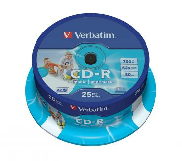 003-135 / 1x25 Verbatim CD-R Rohlinge 700MB 80min 52x Printable Cakebox (43439) OVP NEU