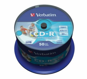 003-139 / 1x50 Verbatim CD-R 80min 700MB 52x Printable Cakebox (43438) NEU