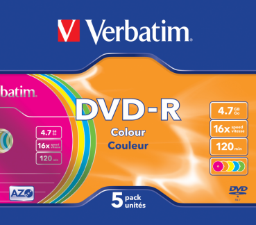 003-184 / 1x5 VERBATIM DVD-R Rohlinge WriteOnce 4.7GB 16x Colour SLIM Case (43557) NEU