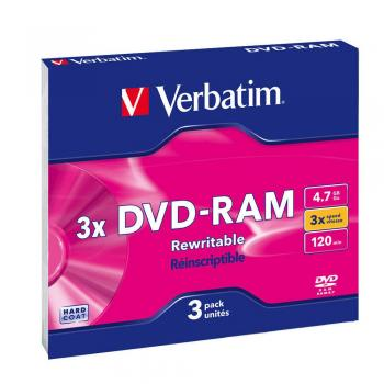 003-195 / 1x3 Verbatim DVD-RAM 4.7GB 120min Speed-3x Matt Silver SLIM CASE (43499) NEU