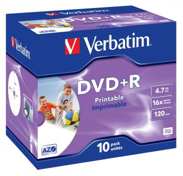 003-224 / 1x10 Verbatim DVD+R 4.7GB 1x16x Printable JEWEL (43508) OVP NEU