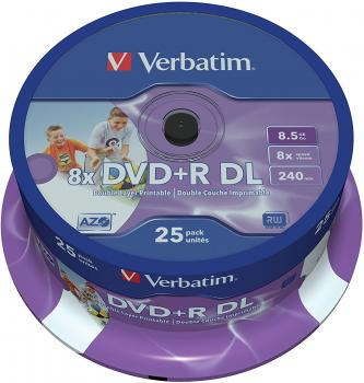 003-228 / 1x25 Verbatim DVD+R Double Layer 8.5GB 1x-8x Printable (43667) OVP NEU