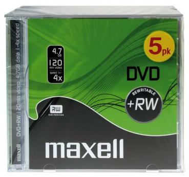 003-235 / 1x5 MAXELL DVD+RW Rohlinge Rewritable 4.7GB 1x4x Jewel (275526) NEU