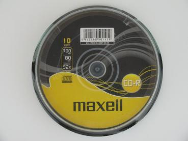 003-981 / 1x10 MAXELL CD-R 80 XL WriteOnce 1x52x 700MB Spindel (624027) NEU