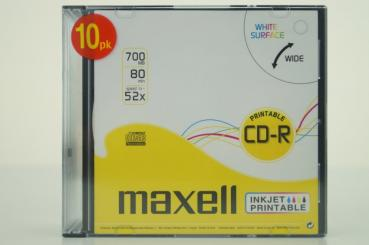 003-985 / 1x10 MAXELL CD-R 80XL 1x52x 700MB Printable SLIM CASE (624016) NEU