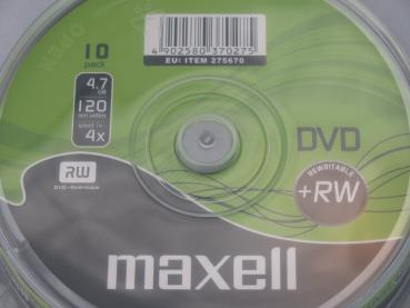 003-996 / 1x10 MAXELL DVD+RW Rewritable 1x-4x 4.7GB Spindel (275670) NEU