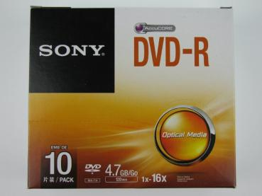 004-503 / 1x10 SONY DVD-R WriteOnce 4.7GB 1x16x SLIM CASE (10DMR47SS) NEU