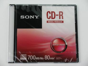 004-646 / SONY Audio CD-R MUSIC 80min Write Once Slim Case (CRM80SS) NEU