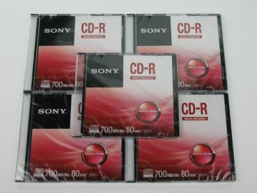 004-653 / 1x5 PACK SONY Audio CD-R MUSIC 80min Write Once Slim Case (CRM80SS) NEU
