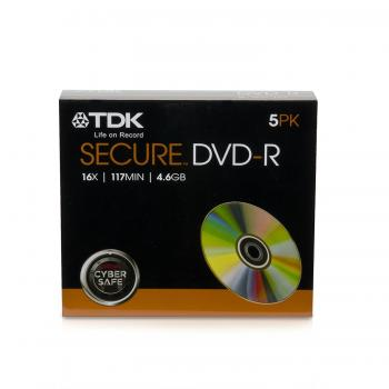 "004-698 / 1x5 TDK DVD-R Rohlinge ""Secure"" WriteOnce 4.6GB 16x SLIM CASE (T62017) NEU"