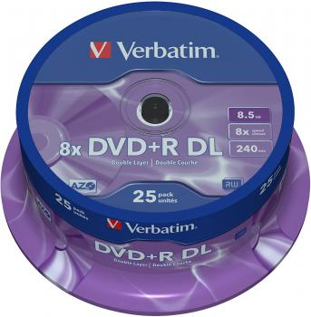 004-775 / 1x25 Verbatim DVD+R Double Layer Discs 8.5GB 1x8x Spindel (43757) OVP NEU