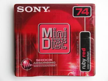 "005-200 / SONY 74min Color Collection ""Ruby Red"" MINI DISC (MDW-74ER) NEU"