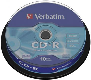 005-805 / 1x10 VERBATIM CD-R WriteOnce 80min 700MB 1x52x Cakebox (43437) OVP NEU