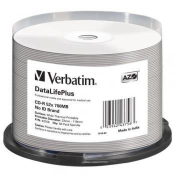 005-809 / 1x50 Verbatim CD-R 80min 700MB 52x Thermal-Printable Cakebox (43756) OVP NEU