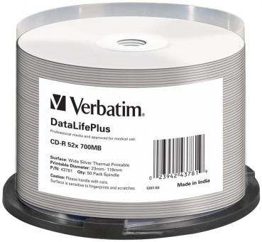 005-810 / 1x50 Verbatim CD-R 80min 700MB 52x Thermal-Printable Cakebox (43781) NEU