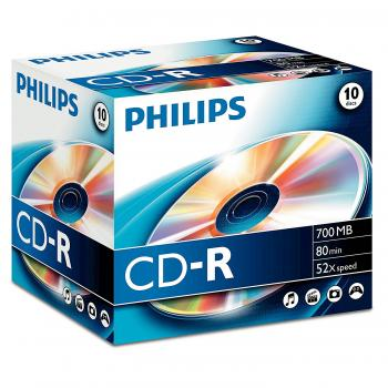 005-811 / 1x10 PHILIPS CD-R Rohlinge 80min 700MB 52x JEWEL (CR7D5NJ10/00) NEU