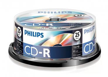 005-813 / 1x25 PHILIPS CD-R 80min 700MB 52x Cakebox (CR7D5NB25/00) NEU