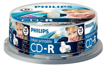 005-814 / 1x25 PHILIPS CD-R 700MB 52x Ink-Jet Cakebox (CR7D5JB25/00) NEU