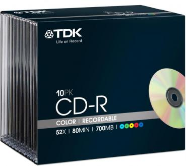 005-834 / 1x10 TDK CD-R WriteOnce 80min 700MB 52x SLIM ColorMix (t18924) NEU