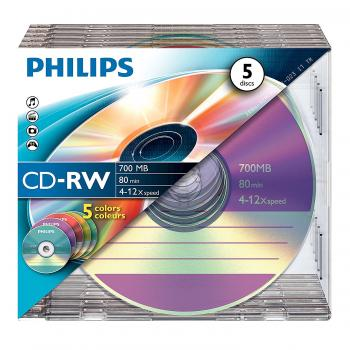 005-860 / 1x5 PHILIPS CD-RW 80min 700MB 4x-12x SLIM CASE (CW7D2CC05/00) OVP NEU