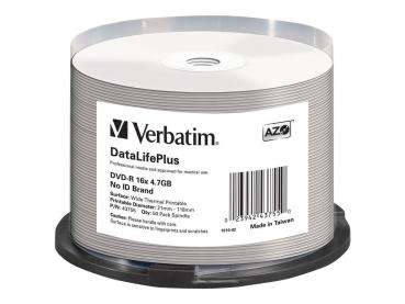 005-963 / 1x50 Verbatim DVD-R 4.7GB 16x Wide Thermal Printable Cakebox (43755) NEU