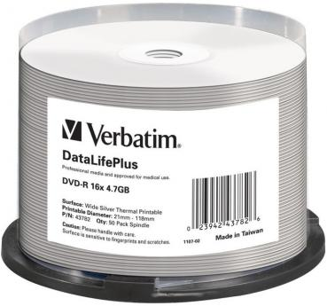 005-964 / 1x50 Verbatim DVD-R 4.7GB 1x16x WideSilver Thermal-Printable (43782) NEU