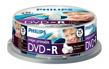 005-967 / 1x25 PHILIPS DVD-R 4.7GB 16x Inkjet Printable Cakebox (DM4I6B25F/00) NEU
