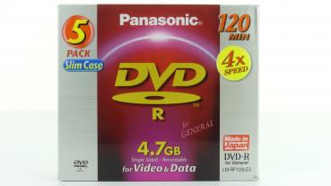 005-980 / 1x5 PANASONIC DVD-R WriteOnce 4x 4.7GB SLIM Case (LM-RF120LE5) NEU