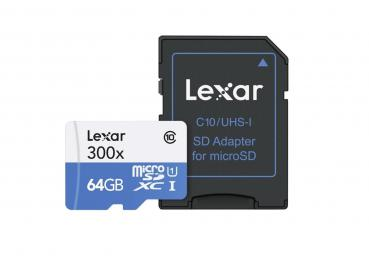 005-998 / LEXAR microSDXC High Speed 64GB 300x Class10 UHS-I +Adpt (LSDMI64GB1EU300A) NEU