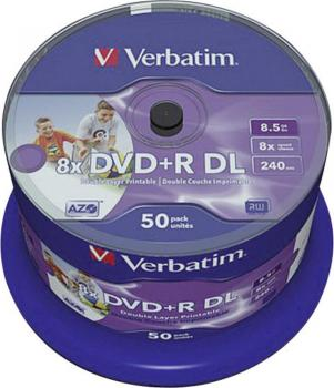 006-053 / 1x50 Verbatim DVD+R DL Double Layer Rohlinge 8.5GB 240min 8x Printable Cakebox (43703) OVP NEU