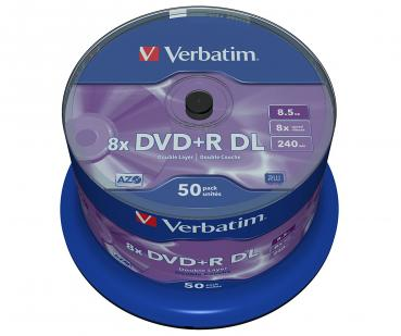 006-055 / 1x50 Verbatim DVD+R DL Double Layer Rohlinge AZO 8.5GB 240min 8x Cakebox (43758) OVP NEU