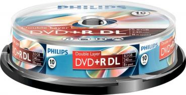 006-058 / 1x10 PHILIPS DVD+R DL Rohlinge Discs 8.5GB 240min 8x Cakebox (DR8S8B10F/00) OVP NEU