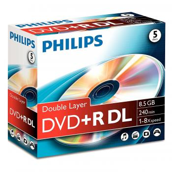 006-059 / 1x5 PHILIPS DVD+R DL Rohlinge 8.5GB 240min 8x JEWEL (DR8S8J05C/00) NEU