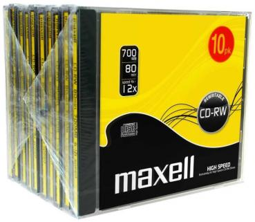 006-084 / 1x10 PACK MAXELL CD-RW 80mn 700MB Rewritable 4x12x Highspeed Jewel Case (626001) OVP NEU