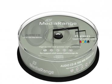 006-089 / 1x25 MediaRange CD-R Audio Rohlinge 80min Printable Cakebox (MR224) NEU