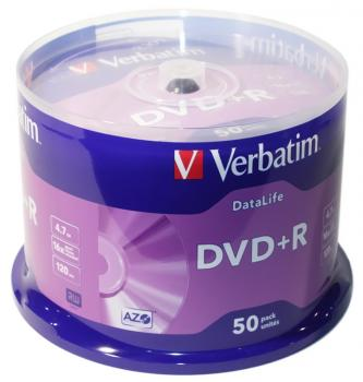 "008-008 / 1x50 Verbatim DVD+R Rohlinge WriteOnce ""DATA LIFE"" 4.7GB 120min 1x16x Cakebox (43815) OVP NEU"