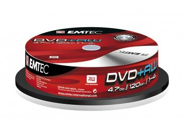 008-319 / 1x10 EMTEC DVD+RW 4.7GB 1-4x Cakebox (EKOVPRW47104CBN) OVP NEU